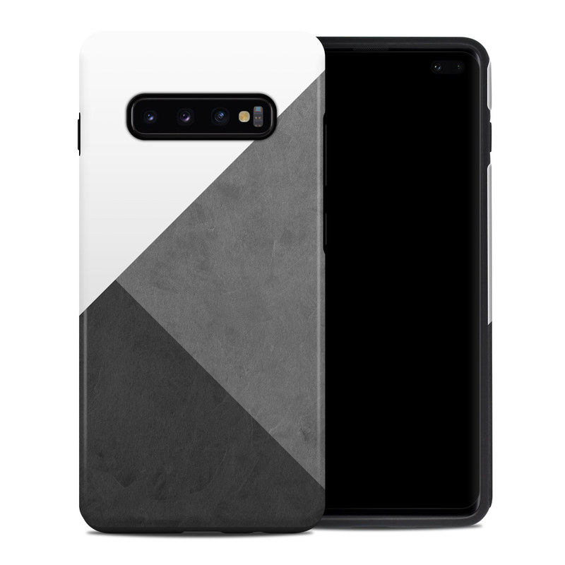Samsung Galaxy S10 Plus Hybrid Case design of Black, White, Black-and-white, Line, Grey, Architecture, Monochrome, Triangle, Monochrome photography, Pattern with white, black, gray colors