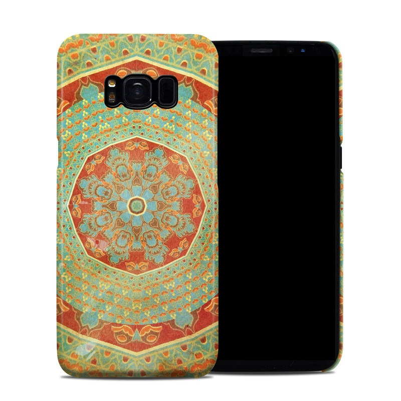 Samsung Galaxy S8 Clip Case design of Orange, Pattern, Textile, Tapestry, Turquoise, Art, Circle, Psychedelic art, Visual arts, Symmetry with green, red, orange, yellow colors
