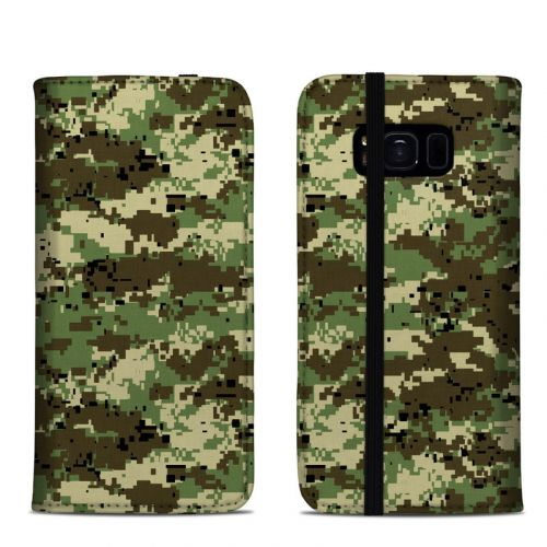Digital Woodland Camo Samsung Galaxy S8 Folio Case