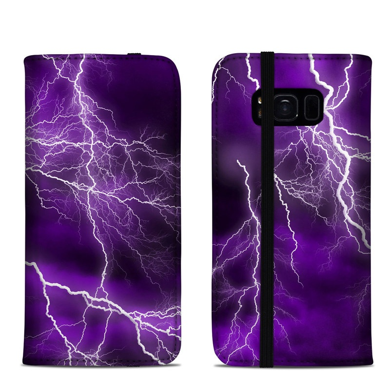 Samsung Galaxy S8 Folio Case design of Thunder, Lightning, Thunderstorm, Sky, Nature, Purple, Violet, Atmosphere, Storm, Electric blue with purple, black, white colors