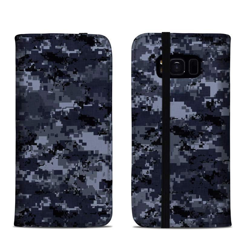Samsung Galaxy S8 Folio Case design of Military camouflage, Black, Pattern, Blue, Camouflage, Design, Uniform, Textile, Black-and-white, Space with black, gray, blue colors