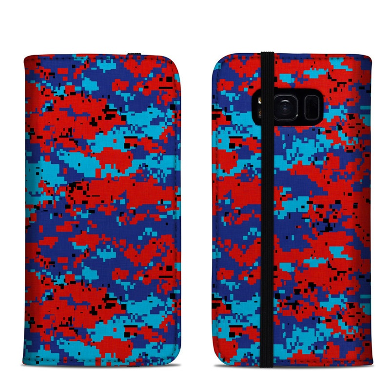 Samsung Galaxy S8 Folio Case design of Blue, Red, Pattern, Textile, Electric blue with blue, red colors