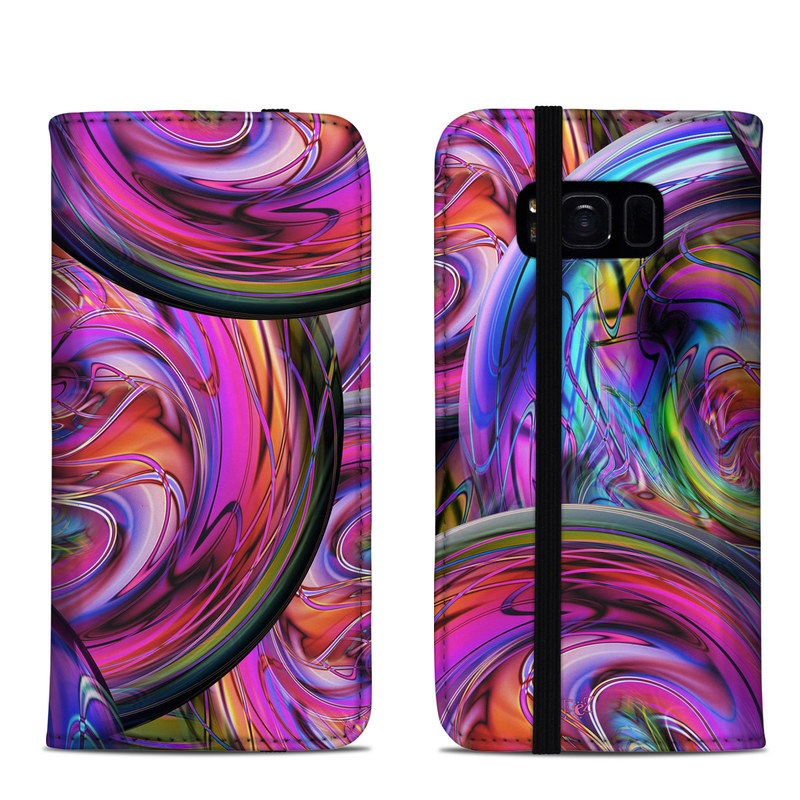 Samsung Galaxy S8 Folio Case design of Pattern, Psychedelic art, Purple, Art, Fractal art, Design, Graphic design, Colorfulness, Textile, Visual arts with purple, black, red, gray, blue, green colors