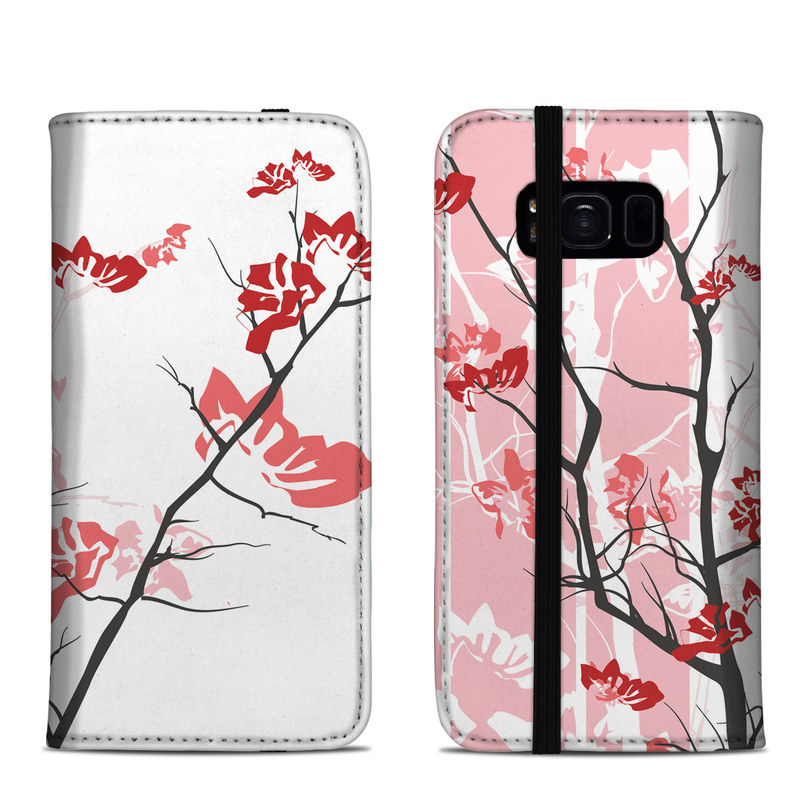 Samsung Galaxy S8 Folio Case design of Branch, Red, Flower, Plant, Tree, Twig, Blossom, Botany, Pink, Spring with white, pink, gray, red, black colors