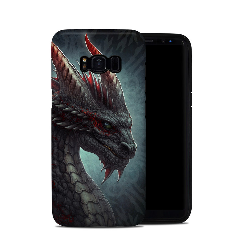 Samsung Galaxy S8 Hybrid Case design of Dragon, Fictional character, Mythical creature, Demon, Cg artwork, Illustration, Green dragon, Supernatural creature, Cryptid with red, gray, blue colors