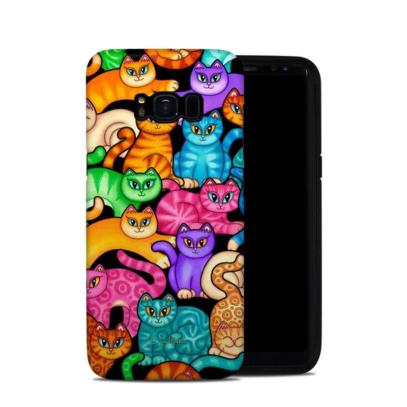 Samsung Galaxy S8 Hybrid Case design of Cat, Cartoon, Felidae, Organism, Small to medium-sized cats, Illustration, Animated cartoon, Wildlife, Kitten, Art with black, blue, red, purple, green, brown colors