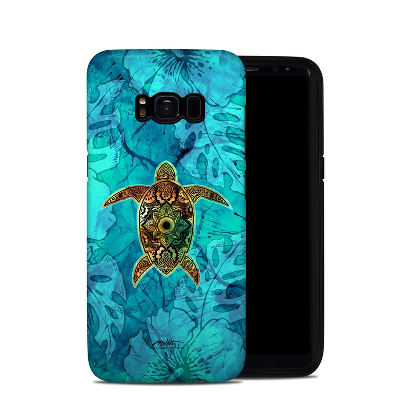 Samsung Galaxy S8 Hybrid Case design of Sea turtle, Green sea turtle, Turtle, Hawksbill sea turtle, Tortoise, Reptile, Loggerhead sea turtle, Illustration, Art, Pattern with blue, black, green, gray, red colors