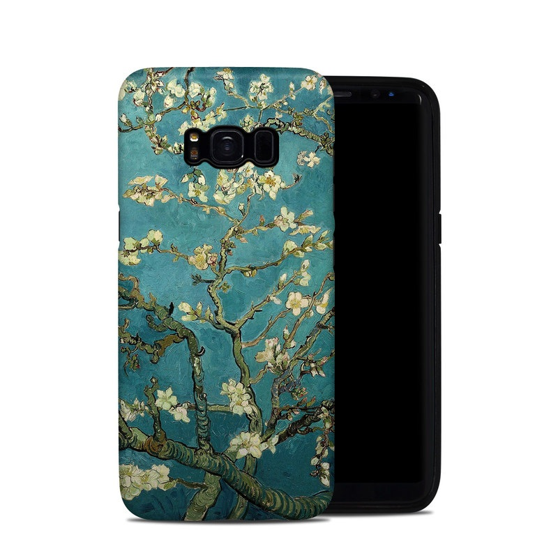 Samsung Galaxy S8 Hybrid Case design of Tree, Branch, Plant, Flower, Blossom, Spring, Woody plant, Perennial plant with blue, black, gray, green colors