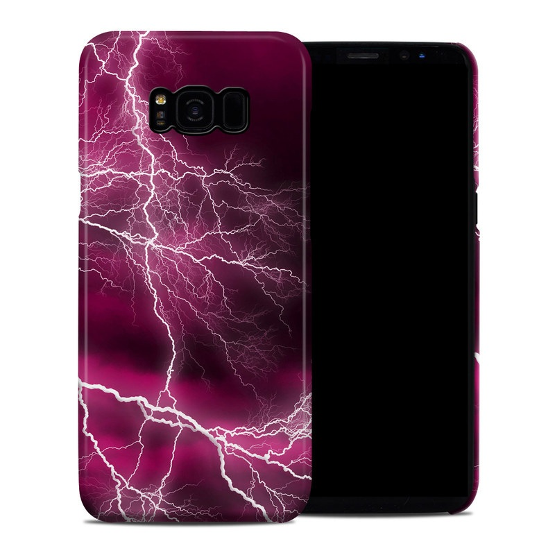 Samsung Galaxy S8 Plus Clip Case design of Thunder, Lightning, Thunderstorm, Sky, Nature, Purple, Red, Atmosphere, Violet, Pink with pink, black, white colors