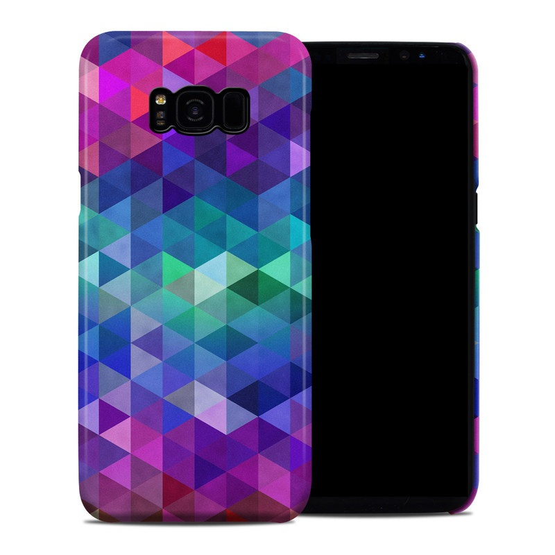 Samsung Galaxy S8 Plus Clip Case design of Purple, Violet, Pattern, Blue, Magenta, Triangle, Line, Design, Graphic design, Symmetry with blue, purple, green, red, pink colors