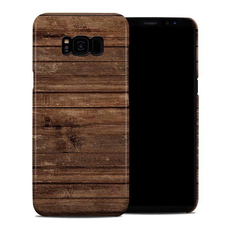 Samsung Galaxy S8 Plus Clip Case design of Wood, Brown, Wood stain, Plank, Hardwood, Wood flooring, Line, Pattern, Floor, Flooring with brown colors