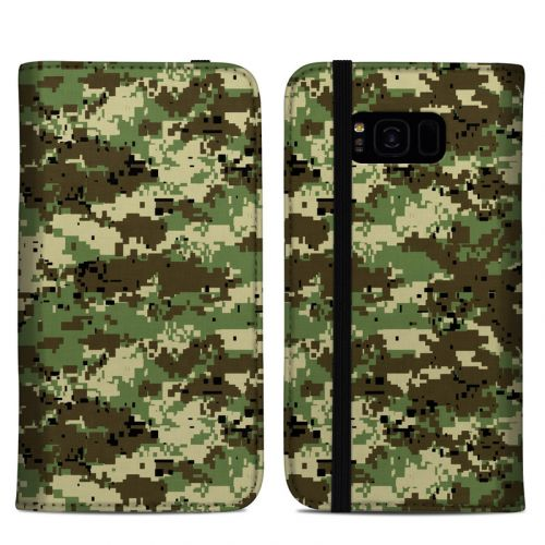 Digital Woodland Camo Samsung Galaxy S8 Plus Folio Case