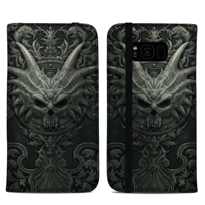 Samsung Galaxy S8 Plus Folio Case design of Demon, Dragon, Fictional character, Illustration, Supernatural creature, Drawing, Symmetry, Art, Mythology, Mythical creature with black, gray colors