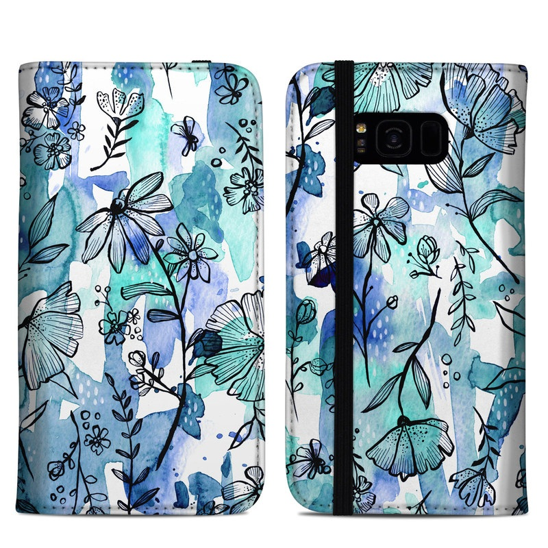 Samsung Galaxy S8 Plus Folio Case design of Blue, Pattern, Turquoise, Aqua, Design, Textile, Wildflower, Plant, Wrapping paper, Gift wrapping with blue, white, black, purple colors