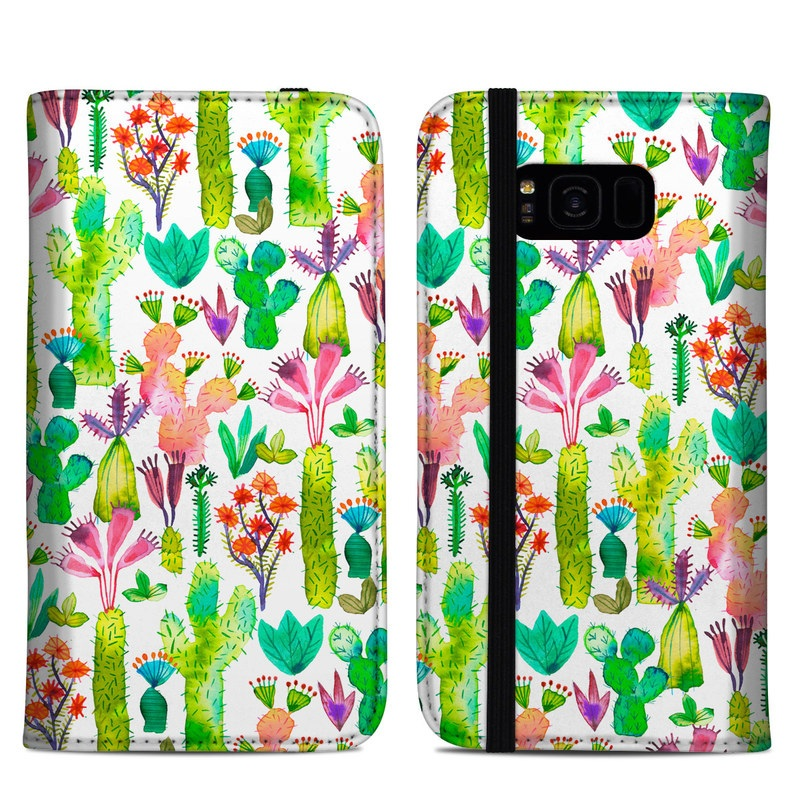 Samsung Galaxy S8 Plus Folio Case design of Pattern, Floral design, Plant, Wildflower, Wrapping paper with white, green, red, purple, pink, black colors