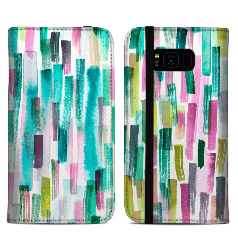 Samsung Galaxy S8 Plus Folio Case design of Line, Turquoise, Pink, Pattern, Design, Magenta, Colorfulness with white, green, blue, pink, purple, black, blue colors