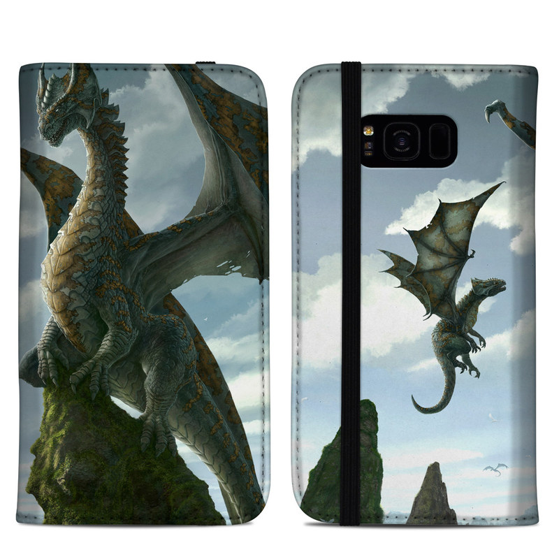 Samsung Galaxy S8 Plus Folio Case design of Dragon, Cg artwork, Fictional character, Mythical creature, Mythology, Extinction, Cryptid, Illustration, Games, Massively multiplayer online role-playing game with black, gray, blue, white, purple colors