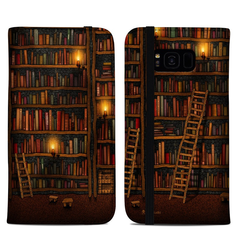 Samsung Galaxy S8 Plus Folio Case design of Shelving, Library, Bookcase, Shelf, Furniture, Book, Building, Publication, Room, Darkness with black, red colors
