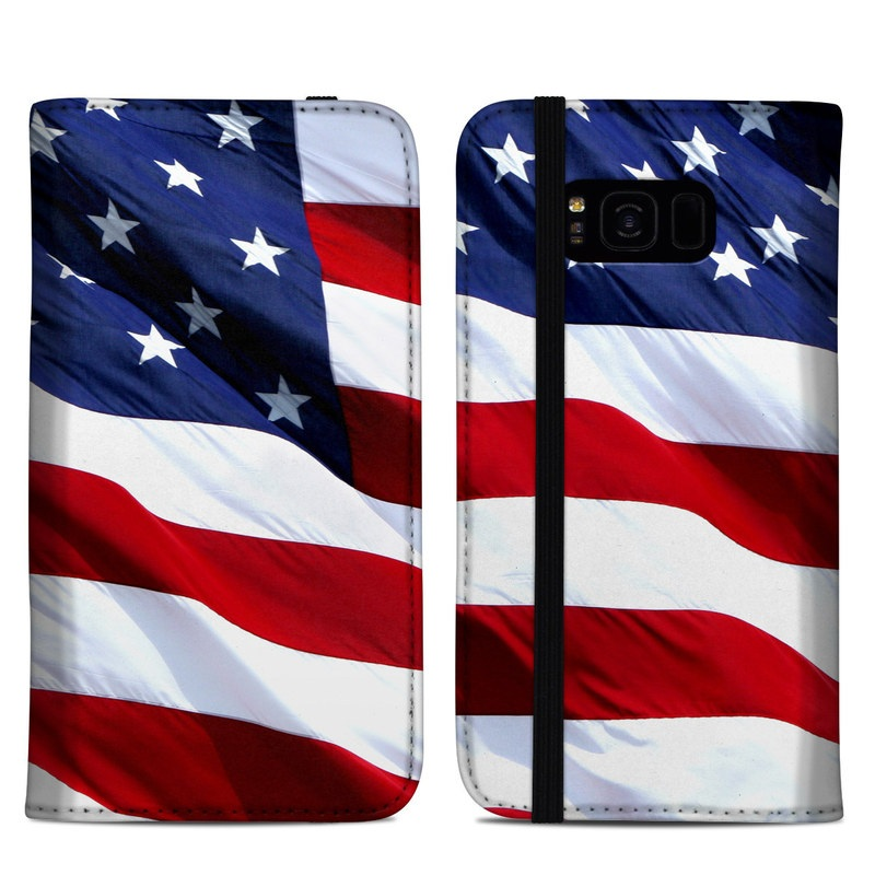 Samsung Galaxy S8 Plus Folio Case design of Flag, Flag of the united states, Flag Day (USA), Veterans day, Memorial day, Holiday, Independence day, Event with red, blue, white colors
