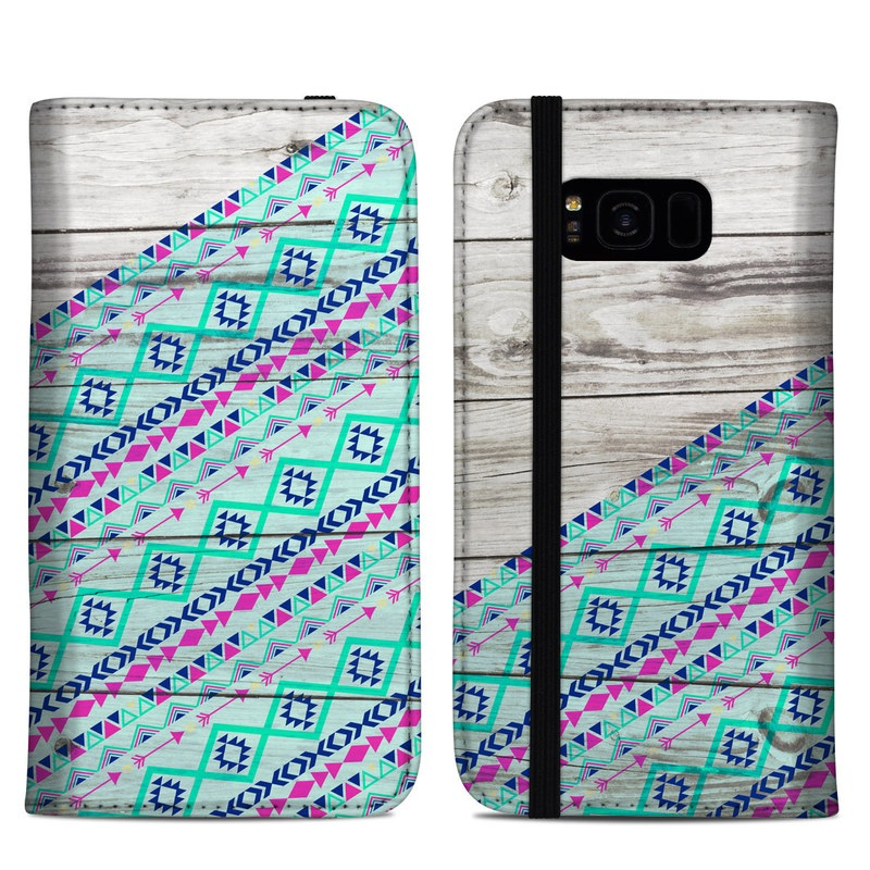 Samsung Galaxy S8 Plus Folio Case design of Turquoise, Pattern, Pink, Line, Magenta, Parallel with gray, blue, purple colors