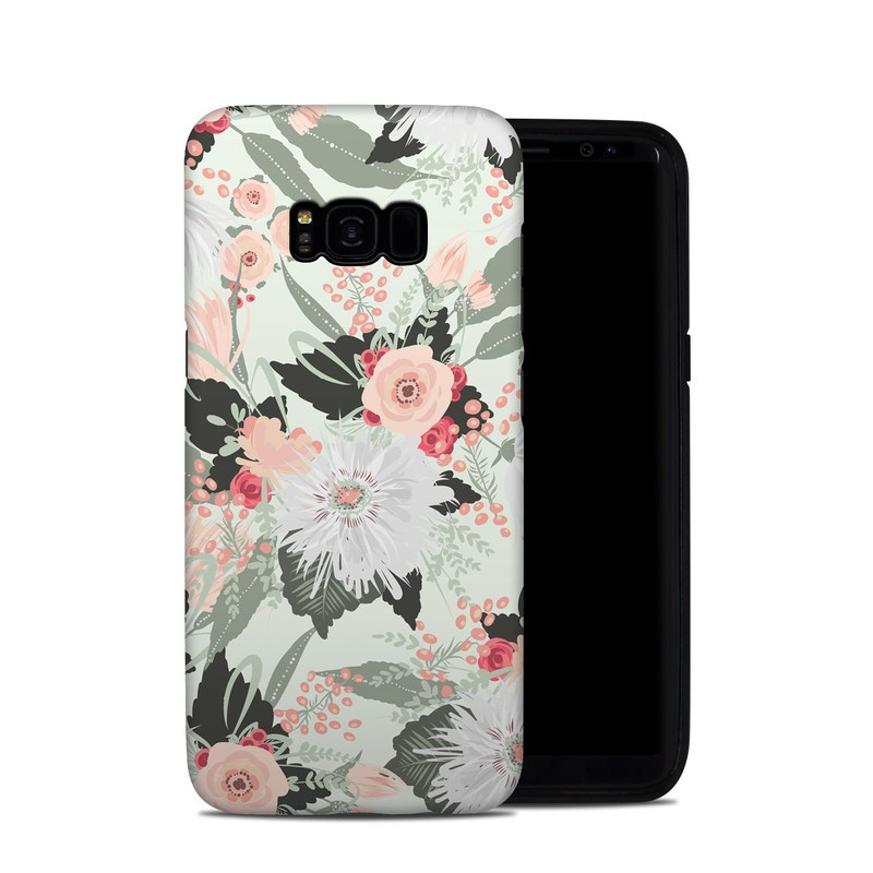 Samsung Galaxy S8 Plus Hybrid Case design of Pattern, Pink, Floral design, Design, Textile, Wrapping paper, Plant, Peach, Flower with green, red, white, pink colors