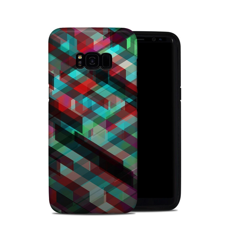 Samsung Galaxy S8 Plus Hybrid Case design of Green, Pattern, Magenta, Purple, Orange, Line, Design, Textile, Plaid with black, red, green, blue, gray colors