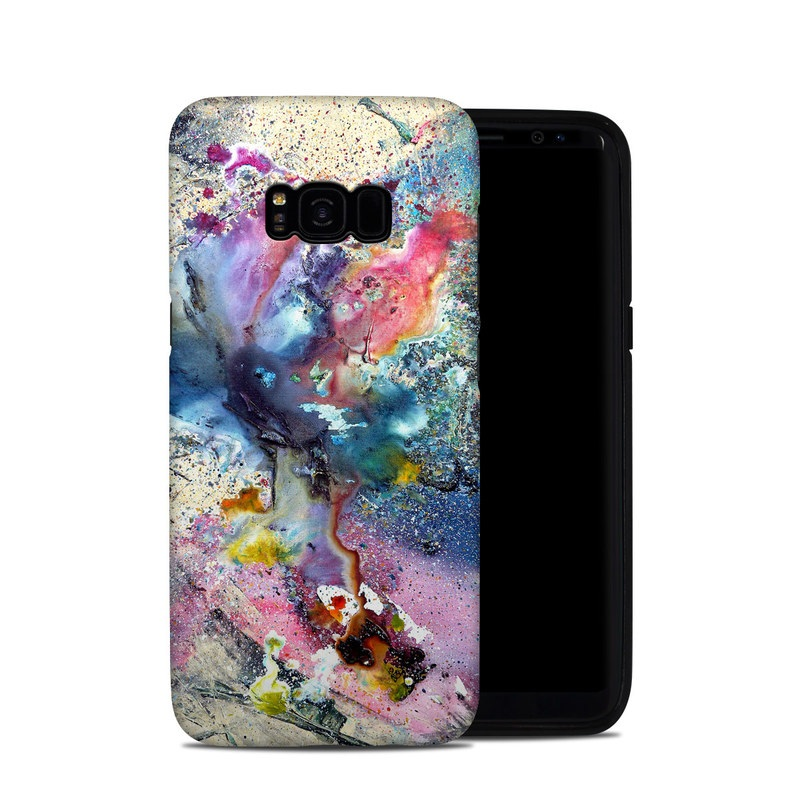 Samsung Galaxy S8 Plus Hybrid Case design of Watercolor paint, Painting, Acrylic paint, Art, Modern art, Paint, Visual arts, Space, Colorfulness, Illustration with gray, black, blue, red, pink colors