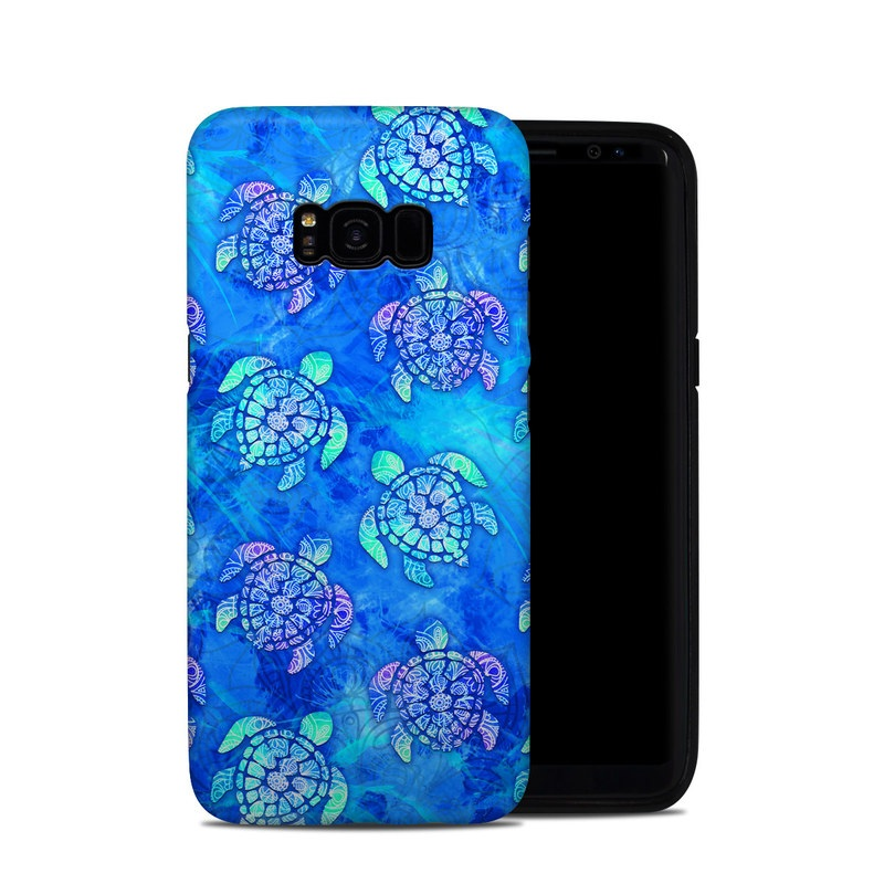 Samsung Galaxy S8 Plus Hybrid Case design of Blue, Pattern, Organism, Design, Sea turtle, Plant, Electric blue, Hydrangea, Flower, Symmetry with blue, green, purple colors