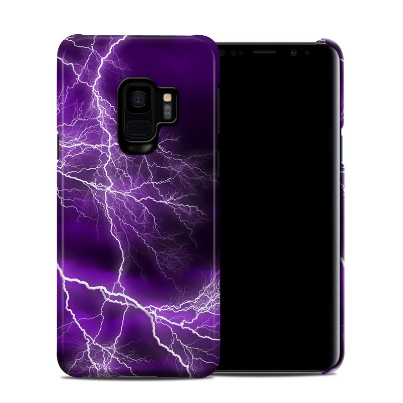 Samsung Galaxy S9 Clip Case design of Thunder, Lightning, Thunderstorm, Sky, Nature, Purple, Violet, Atmosphere, Storm, Electric blue with purple, black, white colors