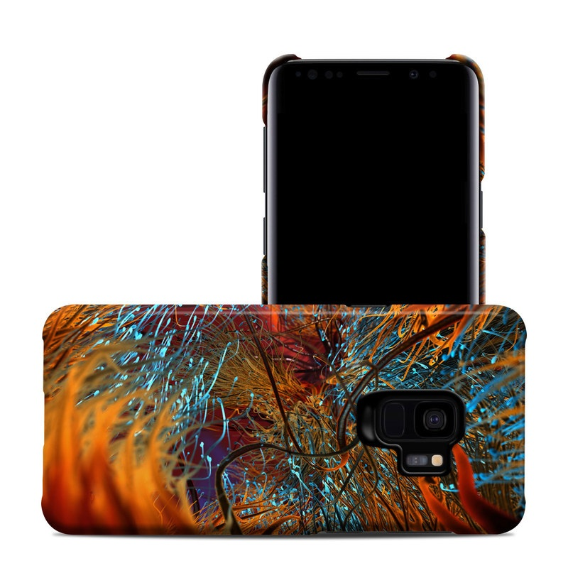 Samsung Galaxy S9 Clip Case design of Orange, Tree, Electric blue, Organism, Fractal art, Plant, Art, Graphics, Space, Psychedelic art with orange, blue, red, yellow, purple colors