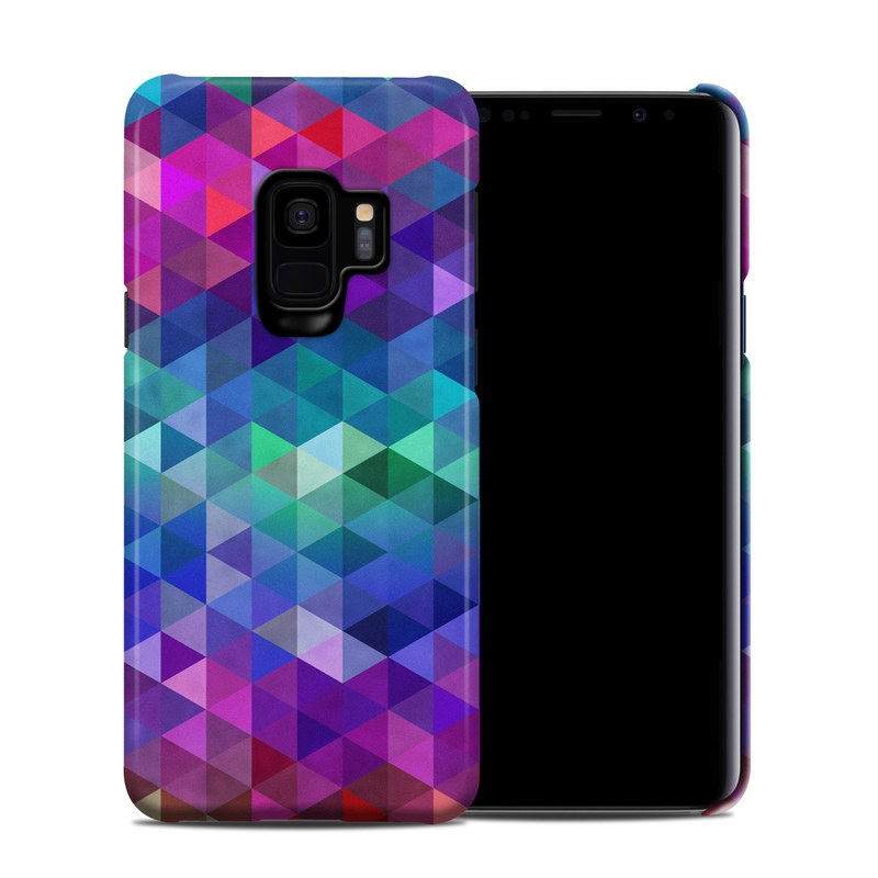 Samsung Galaxy S9 Clip Case design of Purple, Violet, Pattern, Blue, Magenta, Triangle, Line, Design, Graphic design, Symmetry with blue, purple, green, red, pink colors