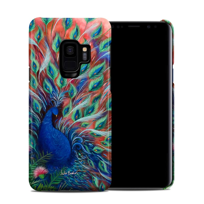 Samsung Galaxy S9 Clip Case design of Painting, Acrylic paint, Bird, Child art, Art, Galliformes, Peafowl, Visual arts, Watercolor paint, Plant with black, red, gray, blue, green colors