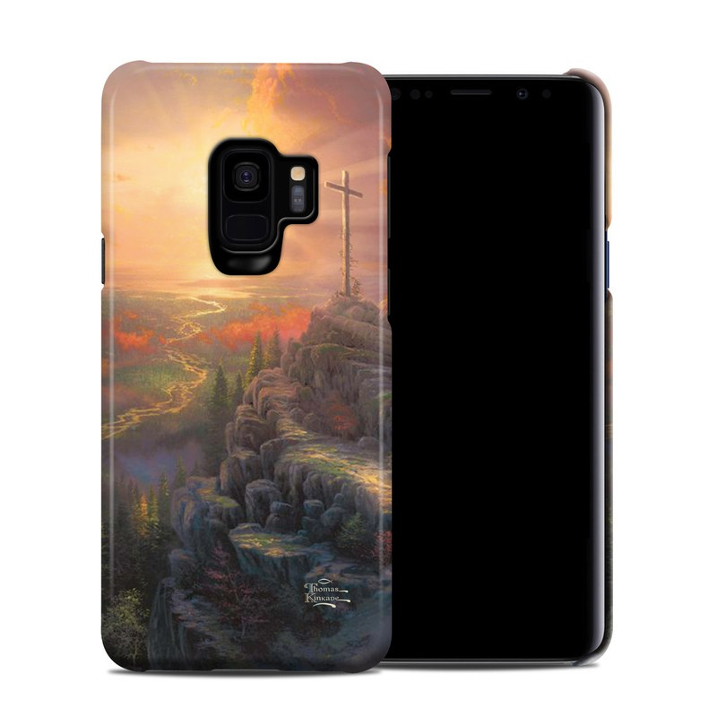 Samsung Galaxy S9 Clip Case design of Painting, Natural landscape, Sky, Cross, Landscape, Visual arts, Art, Symbol, Acrylic paint with black, gray, green, red colors