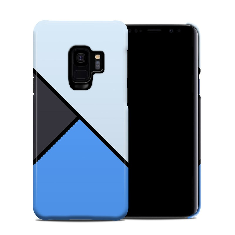 Samsung Galaxy S9 Clip Case design of Blue, Line, Cobalt blue, Triangle, Azure, Electric blue, Parallel, Symmetry, Font with blue, gray, black colors