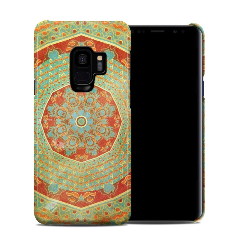 Samsung Galaxy S9 Clip Case design of Orange, Pattern, Textile, Tapestry, Turquoise, Art, Circle, Psychedelic art, Visual arts, Symmetry with green, red, orange, yellow colors
