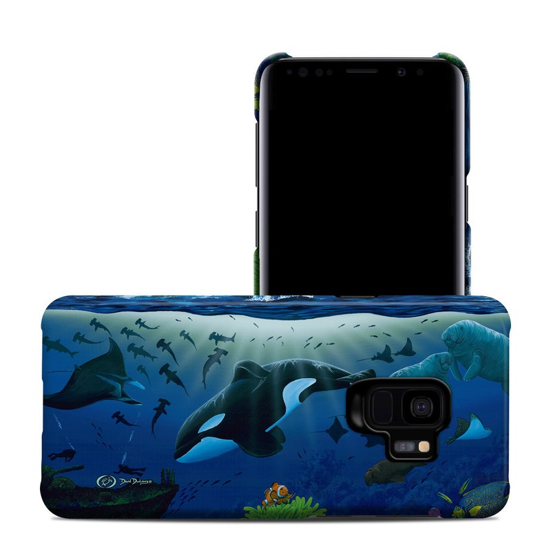 Samsung Galaxy S9 Clip Case design of Marine biology, Underwater, Ocean, Marine mammal, Dolphin, Sea, World, Cetacea with black, blue, gray colors