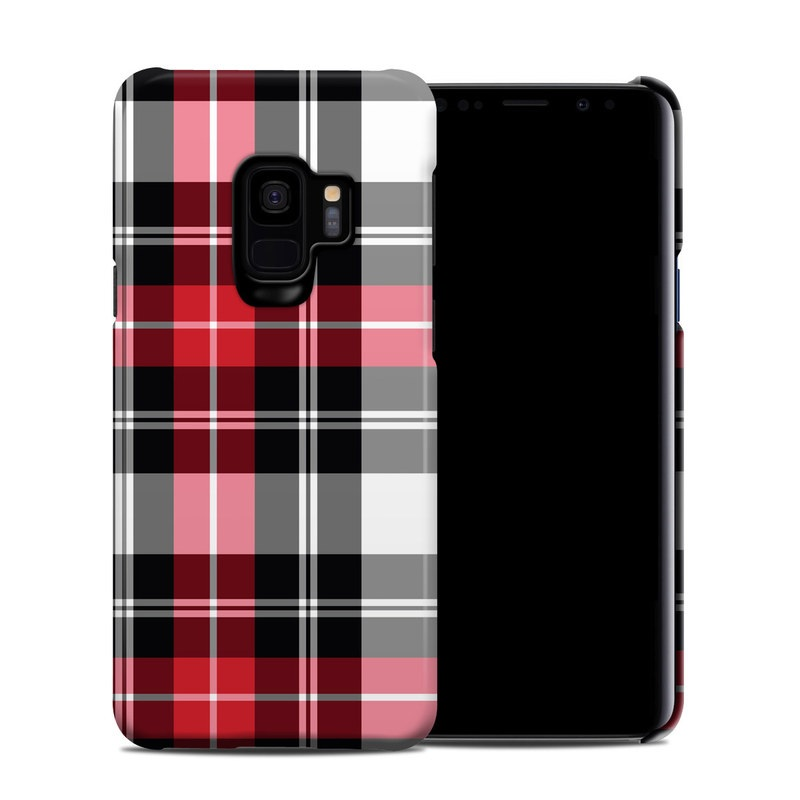 Samsung Galaxy S9 Clip Case design of Plaid, Tartan, Pattern, Red, Textile, Design, Line, Pink, Magenta, Square with black, gray, pink, red, white colors