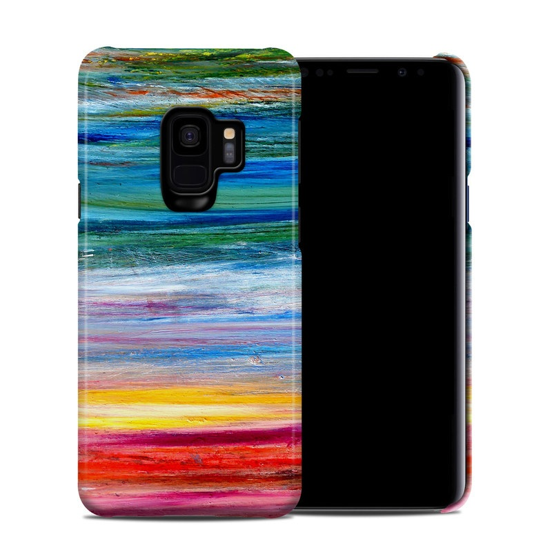 Samsung Galaxy S9 Clip Case design of Sky, Painting, Acrylic paint, Modern art, Watercolor paint, Art, Horizon, Paint, Visual arts, Wave with gray, blue, red, black, pink colors