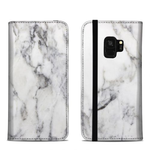 White Marble Samsung Galaxy S9 Folio Case