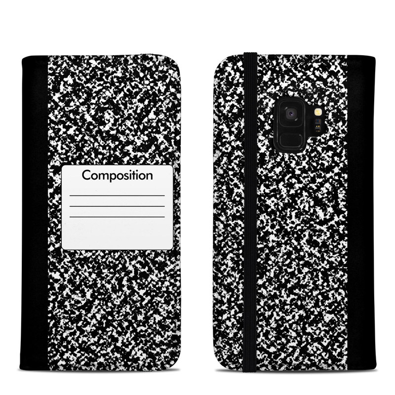 Samsung Galaxy S9 Folio Case design of Text, Font, Line, Pattern, Black-and-white, Illustration with black, gray, white colors
