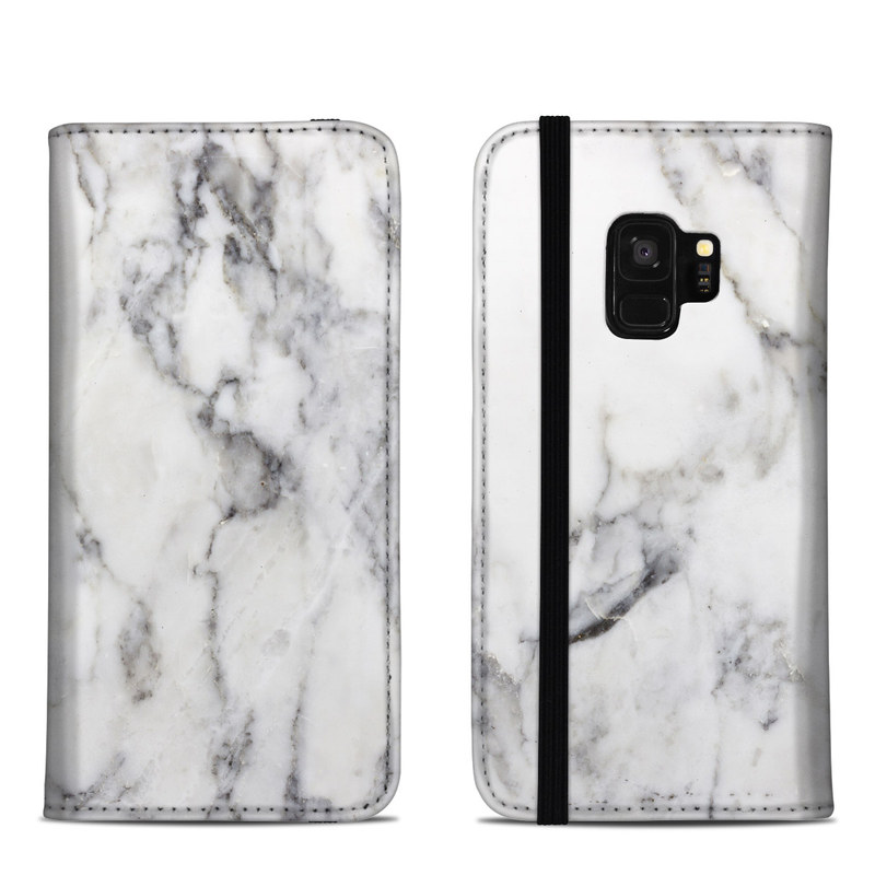 Samsung Galaxy S9 Folio Case design of White, Geological phenomenon, Marble, Black-and-white, Freezing with white, black, gray colors