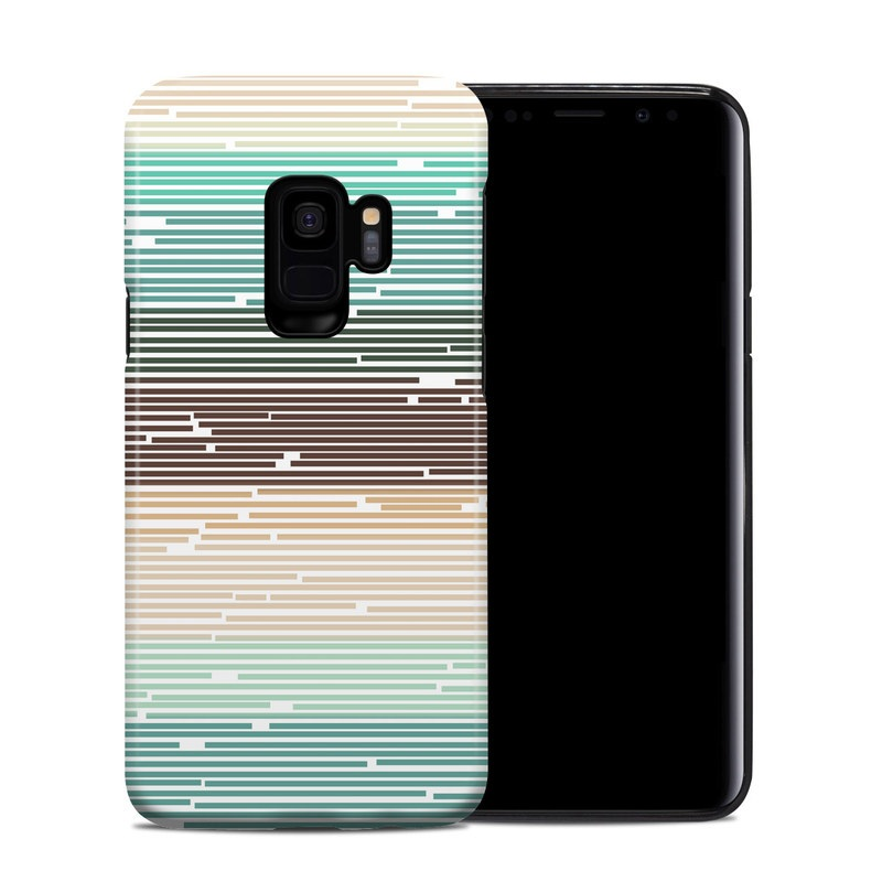 Samsung Galaxy S9 Hybrid Case design of Line, Parallel, Pattern with blue, brown, yellow, orange colors