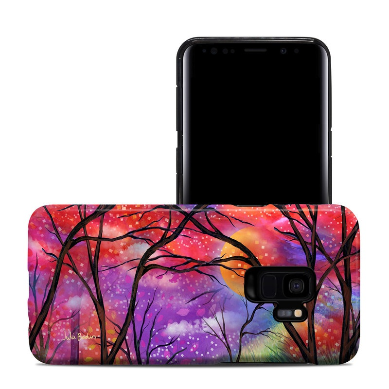 Samsung Galaxy S9 Hybrid Case design of Nature, Tree, Natural landscape, Painting, Watercolor paint, Branch, Acrylic paint, Purple, Modern art, Leaf with red, purple, black, gray, green, blue colors