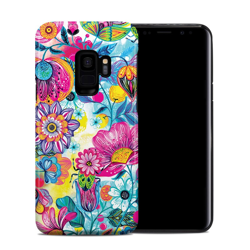 Samsung Galaxy S9 Hybrid Case design of Pattern, Floral design, Textile, Design, Flower, Wildflower, Visual arts, Plant, Wrapping paper with blue, pink, purple, green, yellow, orange, white colors