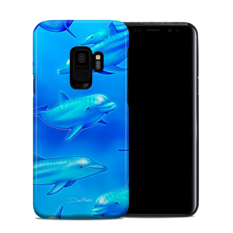 Samsung Galaxy S9 Hybrid Case design of Fin, Marine biology, Fish, Cobalt blue, Blue, Underwater, Marine mammal, Dolphin, Electric blue with blue colors