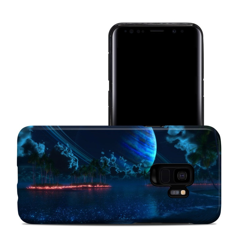 Samsung Galaxy S9 Hybrid Case design of Nature, Sky, Light, Atmosphere, Night, Space, Darkness, Geological phenomenon, Cg artwork, World with black, blue colors