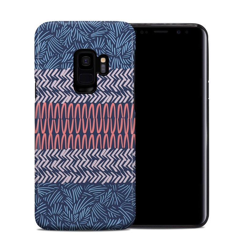 Samsung Galaxy S9 Hybrid Case design of Pattern, Blue, Turquoise, Design, Line, Textile, Symmetry, Woven fabric, Electric blue with blue, pink colors