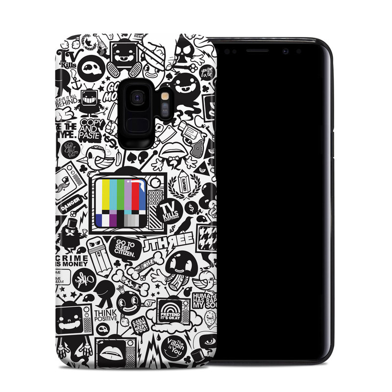 Samsung Galaxy S9 Hybrid Case design of Pattern, Drawing, Doodle, Design, Visual arts, Font, Black-and-white, Monochrome, Illustration, Art with gray, black, white colors
