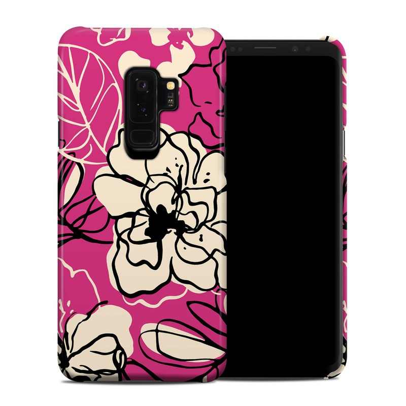 Samsung Galaxy S9 Plus Clip Case design of Pink, Pattern, Petal, Flower, Floral design, Plant, Botany, Design, Magenta, Visual arts with pink, yellow colors