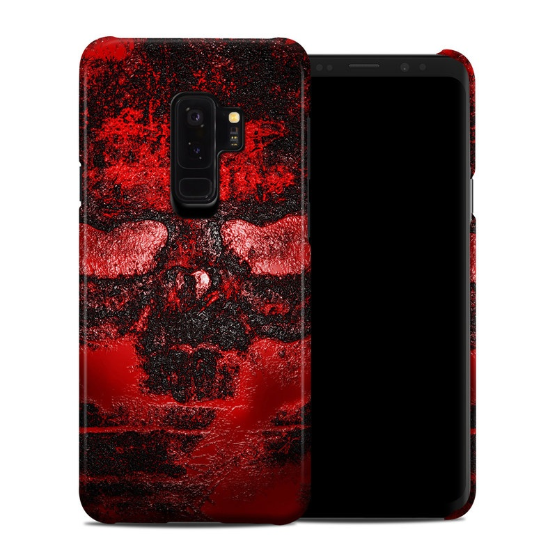Samsung Galaxy S9 Plus Clip Case design of Red, Heart, Graphics, Pattern, Skull, Graphic design, Flesh, Visual arts, Art, Illustration with black, red colors